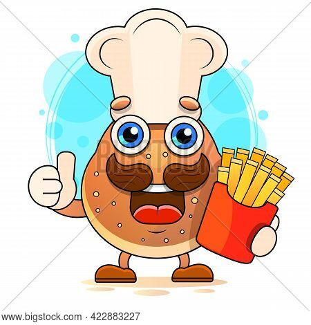Illustration With Funny Character. Funny And Healthy Food. Vitamins Contained In Potato. Food With C