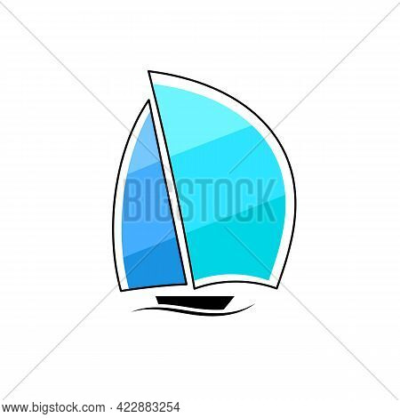 Business Logo Yacht Floating On The Waves Modern Simple - Isolated