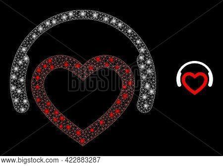 Sparkle Mesh Romantic Dj Headphones With Lightspots. Vector Constellation Based On Romantic Dj Headp