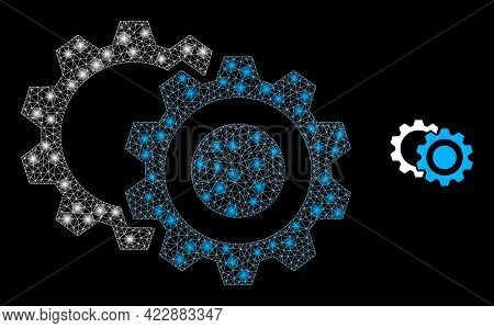 Flare Mesh Gears With Light Spots. Vector Constellation Based On Gears Icon. Constellation Frame Mes