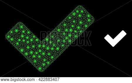 Sparkle Mesh Ok Sign With Glowing Spots. Vector Carcass Created From Ok Sign Icon. Glowing Carcass M