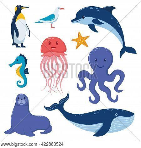 Sea Animals Big Set. Cute Flat Style Sea Creature Characters. Penguin, Whale, Seal, Seahorse, Dolphi