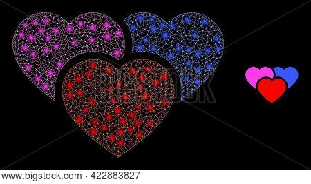Illuminated Network Love Hearts With Lightspots. Vector Frame Generated From Love Hearts Icon. Illum