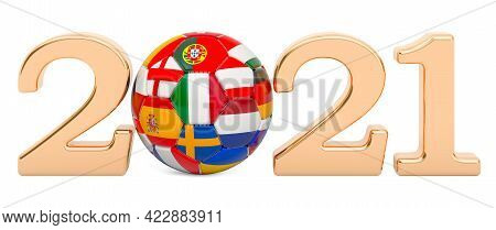 European Championship 2021 Concept. Soccer Ball With European Flags, 3d Rendering Isolated On White