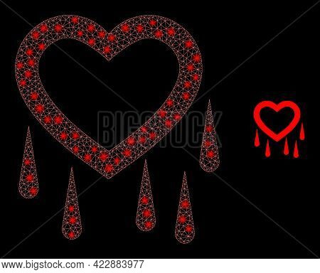 Flare Network Crying Heart With Glowing Spots. Vector Model Based On Crying Heart Icon. Flare Frame