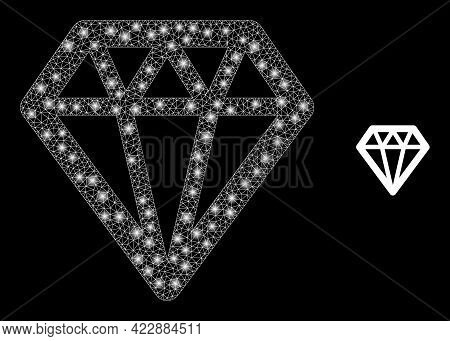 Constellation Network Diamond With Lightspots. Vector Constellation Created From Diamond Icon. Const