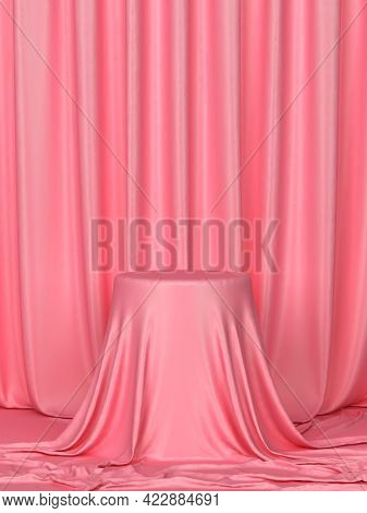 Cylinder Covered With Draped Cloth. Minimal Scene. 3d Illustration. Showcase For Your Products