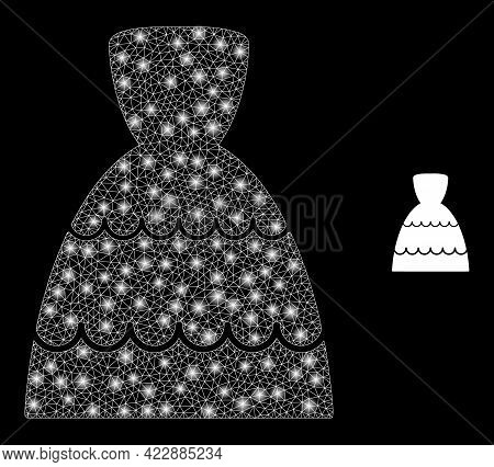 Glowing Mesh Bride Dress With Glowing Spots. Vector Frame Generated From Bride Dress Icon. Bright Fr