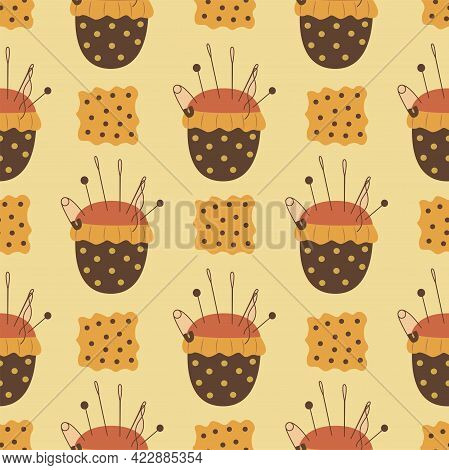 Seamless pattern needle pillow and fabric. Pincushion. Colorful vector illustration hand drawn. Sewing. Wrapping or background