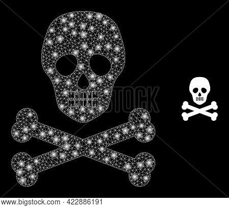 Constellation Mesh Death Skull With Glowing Spots. Vector Constellation Based On Death Skull Icon. I