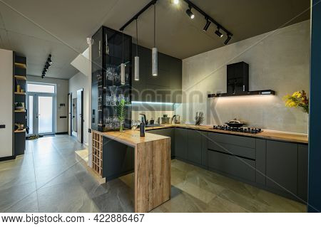 Modern luxury loft studio apartment interior with kitchen, large living room and entrance hall