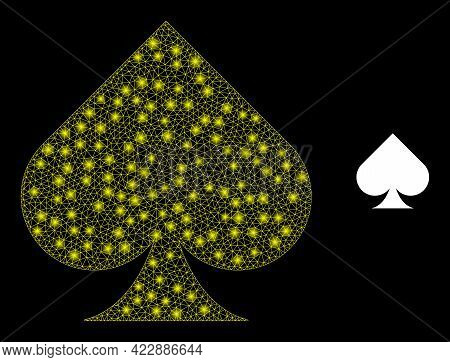 Glowing Network Playing Card Spade Suit With Glowing Spots. Vector Carcass Created From Playing Card