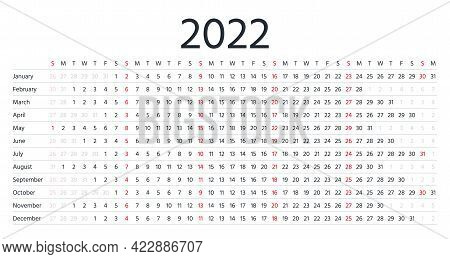 2022 Calendar. Linear Horizontal Planner For Year. Vector. Yearly Calender Template. Week Starts Sun