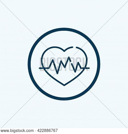 Heart Beating Icon. Outline Heart Beating Vector Icon For Web Design Isolated On White Background