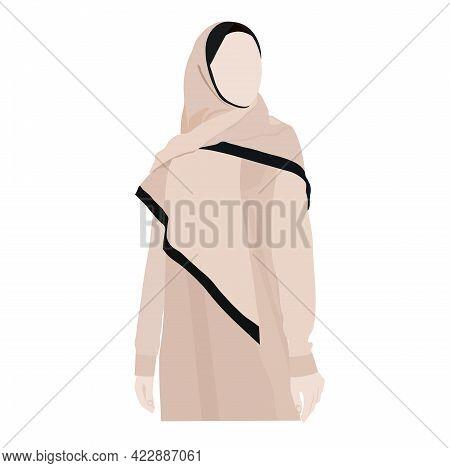 Hijab Vector Illustration. Islamic Girl. Muslim Woman. Middle Eastern Woman In Hijab (traditional Mu