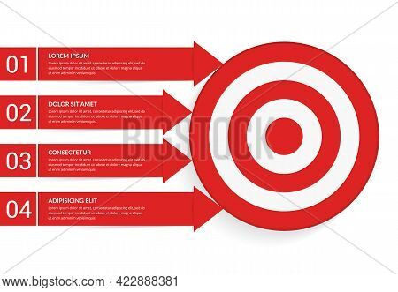 4 Steps To Your Goal Concept, Infographic Template With Target With 4 Arrows With Text And Numbers,