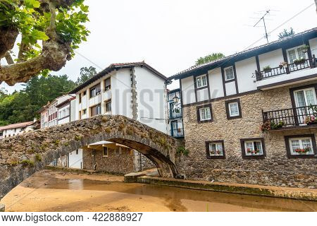 Bridge Over The River Of The Ea Municipality Near Lekeitio, Bay Of Biscay In The Cantabrian Sea. Bas