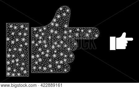 Glowing Net Index Finger With Glowing Spots. Vector Frame Generated From Index Finger Icon. Glowing