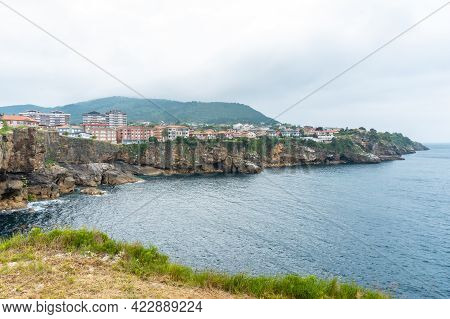 Coast Full Of Houses Of The Lekeitio Municipality, Bay Of Biscay In The Cantabrian Sea. Basque Count