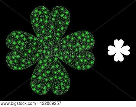Glossy Net Four Leaf Clover With Glowing Spots. Vector Frame Based On Four Leaf Clover Icon. Glossy