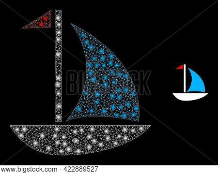 Illuminated Net Sail Boat With Glowing Spots. Vector Carcass Created From Sail Boat Icon. Glowing Ca