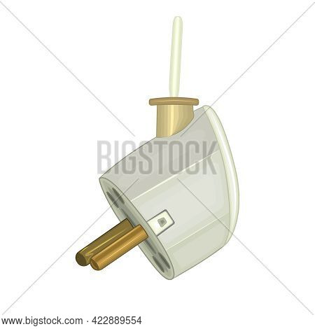 Plug Isolated On White Background. White Electric Plug Hanging On Cord. Electrical Service. Concept
