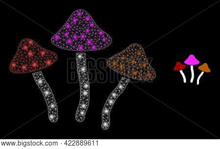 Flare Mesh Psychedelic Mushrooms With Lightspots. Vector Constellation Based On Psychedelic Mushroom