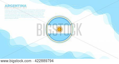 Argentina Independence Day Design With Abstract Background Design And Argentina Emblem Flag. Good Te