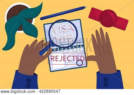 Concept Rejected Working American Visa, Top View. Employee's Hands Approved American Visa. Table At