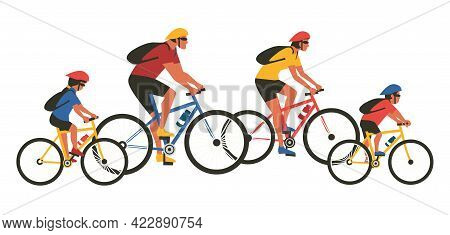 Family Cycling Sport Activity Flat Color Vector Isolated. Mom, Dad, Son, Daughter On Bicycle Cartoon