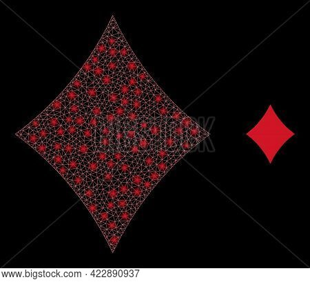 Sparkle Mesh Playing Card Diamond Suit With Lightspots. Vector Frame Based On Playing Card Diamond S