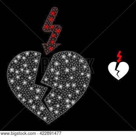 Glossy Net Break Heart With Lightspots. Vector Frame Based On Break Heart Icon. Glossy Frame Polygon