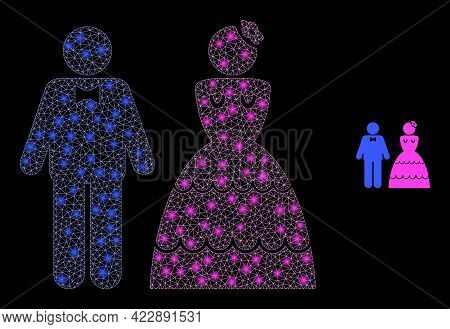 Flare Net Wedding Pair With Lightspots. Vector Carcass Based On Wedding Pair Icon. Glossy Carcass Me