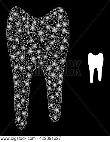 Glossy Mesh Tooth With Light Spots. Vector Grid Based On Tooth Icon. Glossy Frame Polygonal Tooth On