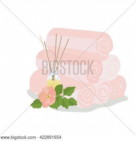 Vector Stock Illustration Of Terrycloth Towels. Icon For Hotel, Spa, Resort. Plush Pink Towels. Arom