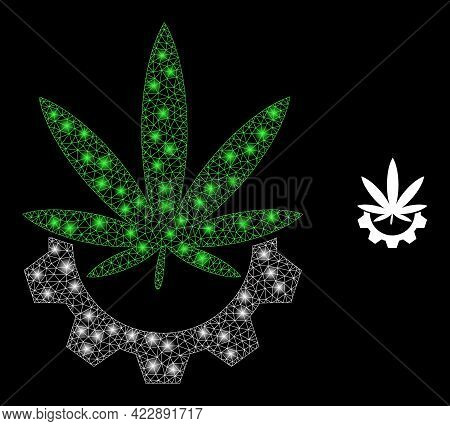Constellation Mesh Cannabis Industry With Glowing Spots. Vector Constellation Created From Cannabis