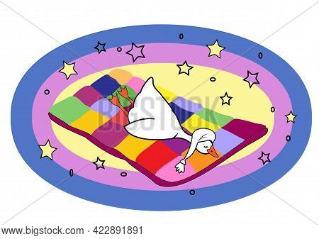 A Cute Goose In A White Cap Sleeps On A Multi-colored Soft Blanket Soaring In The Starry Sky