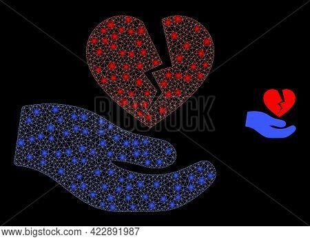 Glowing Mesh Broken Heart Offer Hand With Glowing Spots. Vector Carcass Based On Broken Heart Offer