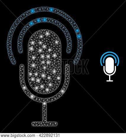 Bright Net Microphone With Glowing Spots. Vector Constellation Based On Microphone Icon. Constellati
