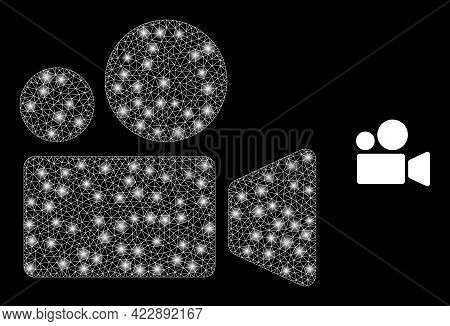 Bright Mesh Cinema Camera With Light Spots. Vector Grid Generated From Cinema Camera Icon. Bright Fr