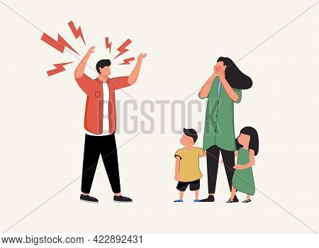 Family Conflict. Angry, Unhappy People. Divorce Or Quarrel Of A Couple, Domestic Violence Between Hu