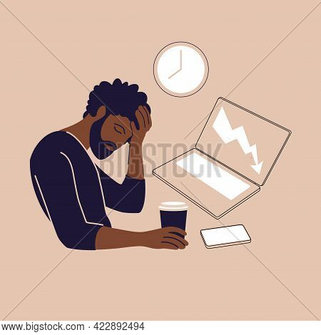 Professional Burnout Syndrome. Illustration Tired African American Office Worker Sitting At The Tabl
