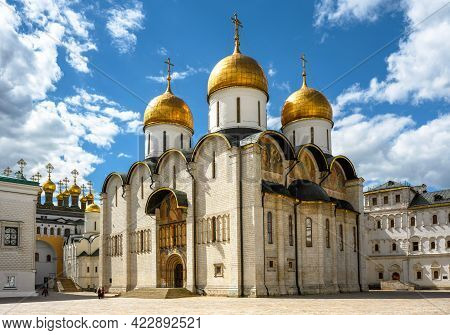 Dormition Cathedral (assumption) Inside Moscow Kremlin, Russia. It Is Famous Landmark Of Moscow. Rus
