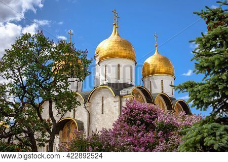 Dormition (assumption) Cathedral Inside Moscow Kremlin, Russia. Nice Scenic View Of Old Russian Orth