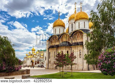 Dormition (assumption) Cathedral Overlooking Annunciation Cathedral, Moscow Kremlin, Russia. Scenic