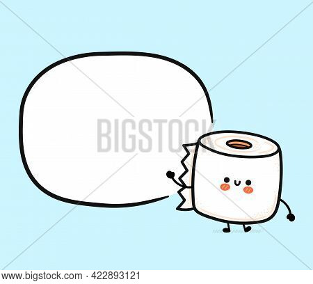 Cute Funny Happy White Toilet Paper Roll With Text Box. Vector Hand Drawn Cartoon Kawaii Character I