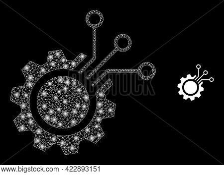 Glowing Net Electronic Gear With Light Spots. Vector Frame Based On Electronic Gear Icon. Glowing Ca