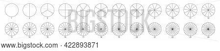 Segment Slice Sign. Circle Section Graph Line Art. Pie Chart Icon. 2, 3, 4, 5, 6 Segment Infographic