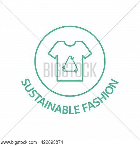 Sustainable Fashion Line Icon. Slow Clothes Badge. Organic Cotton, Natural Dyes, Renewable Crop Labe