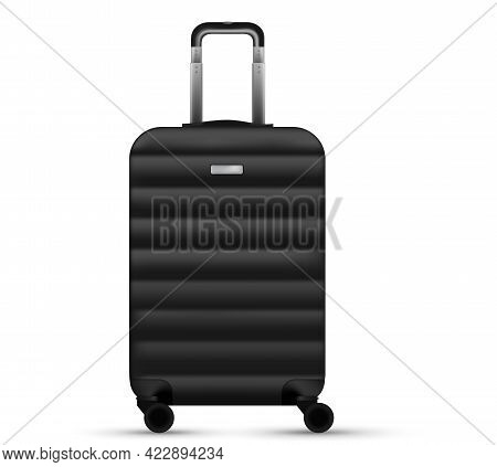 Travel Suitcase Isolated. Set Of Silver Plastic Luggage Or Vacation Baggage Bag On White Background.